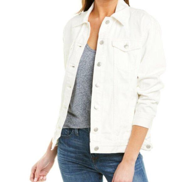 Madewell oversized trucker white jean jacket sz S